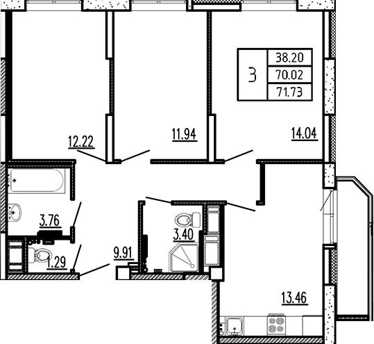 3-к.кв, 75.72 м²