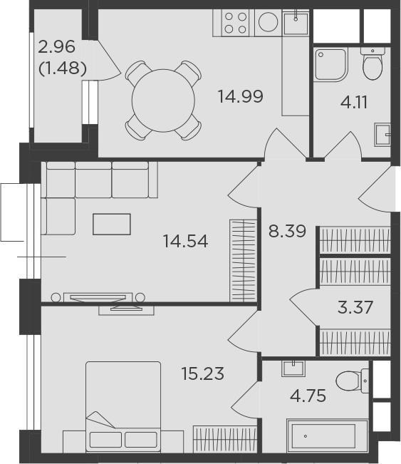 2-к.кв, 66.86 м², 6 этаж