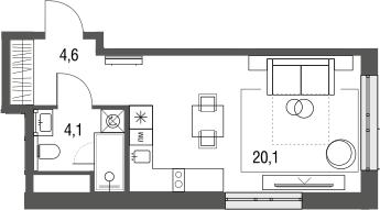 Студия, 28.8 м², 2 этаж