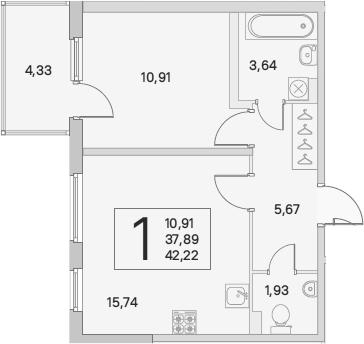 2Е-к.кв, 39.19 м²