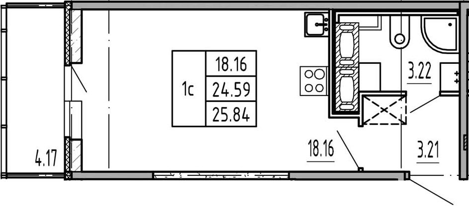 Студия, 24.59 м², 17 этаж
