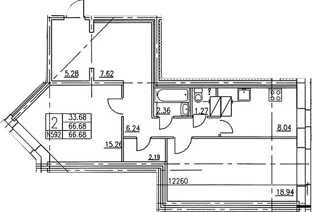 2-к.кв, 66.5 м²