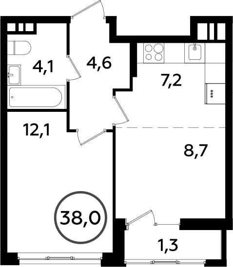 2Е-к.кв, 38 м², 10 этаж