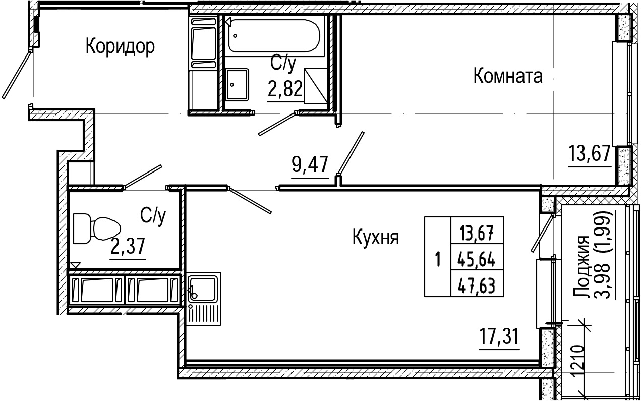 2Е-к.кв, 47.63 м², от 7 этажа