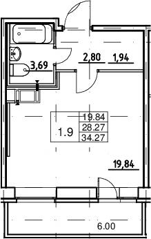 Студия, 28.27 м², 9 этаж