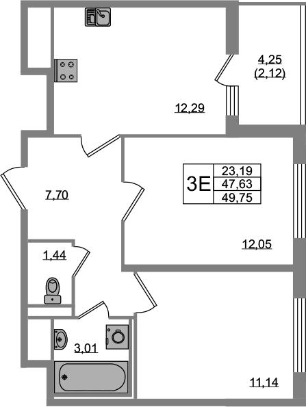 3-к.кв (евро), 51.87 м²