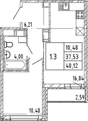 2Е-комнатная, 37.53 м²– 2