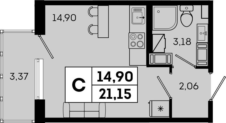 Студия, 21.15 м², 4 этаж