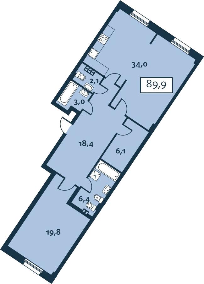 2Е-комнатная, 89.85 м²– 2