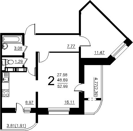 2-к.кв, 57.29 м²