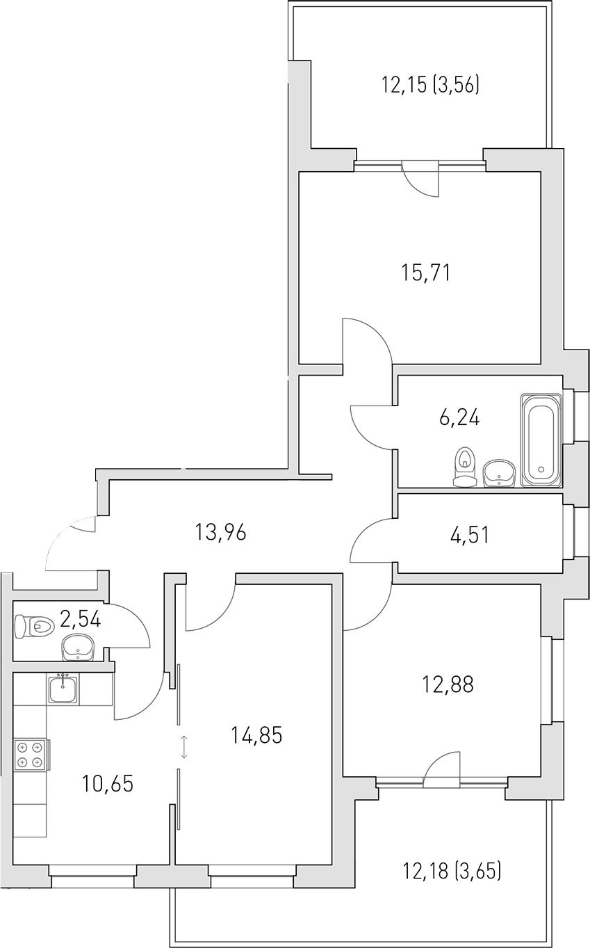 3-к.кв, 88.55 м²