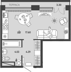 Студия, 36.96 м²
