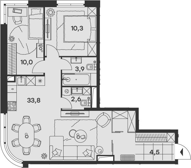 3Е-к.кв, 65.1 м², 16 этаж