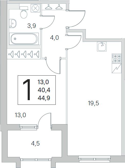 2Е-комнатная, 40.4 м²– 2