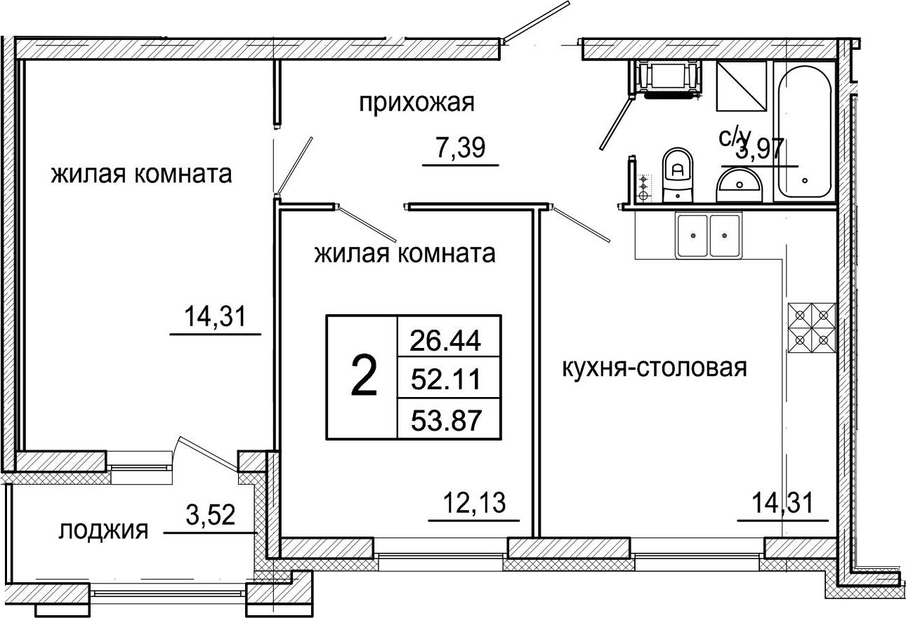 3-к.кв (евро), 55.63 м²