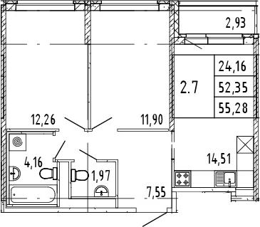 3Е-комнатная квартира, 53.82 м², 14 этаж – Планировка