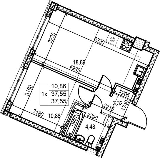 2Е-к.кв, 37.55 м²