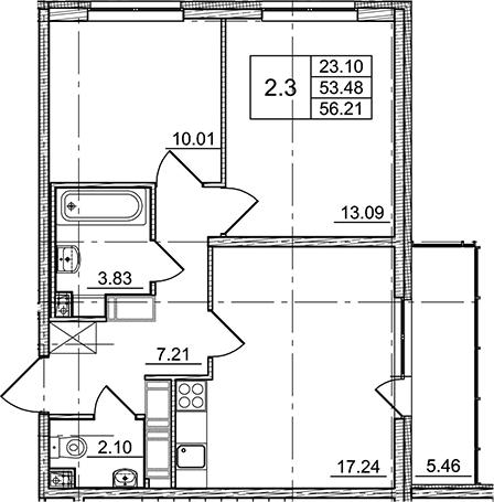 3Е-комнатная, 53.48 м²– 2
