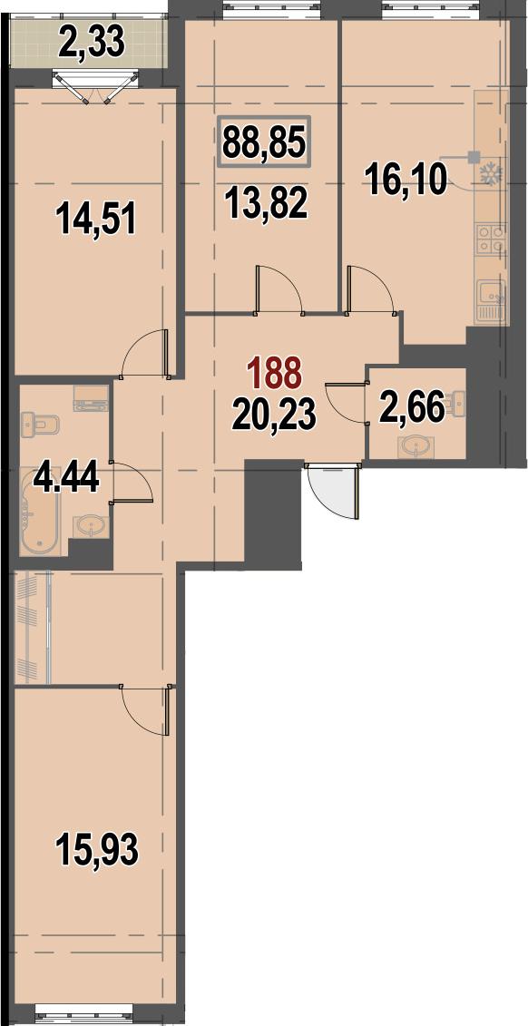 4Е-к.кв, 88.85 м²