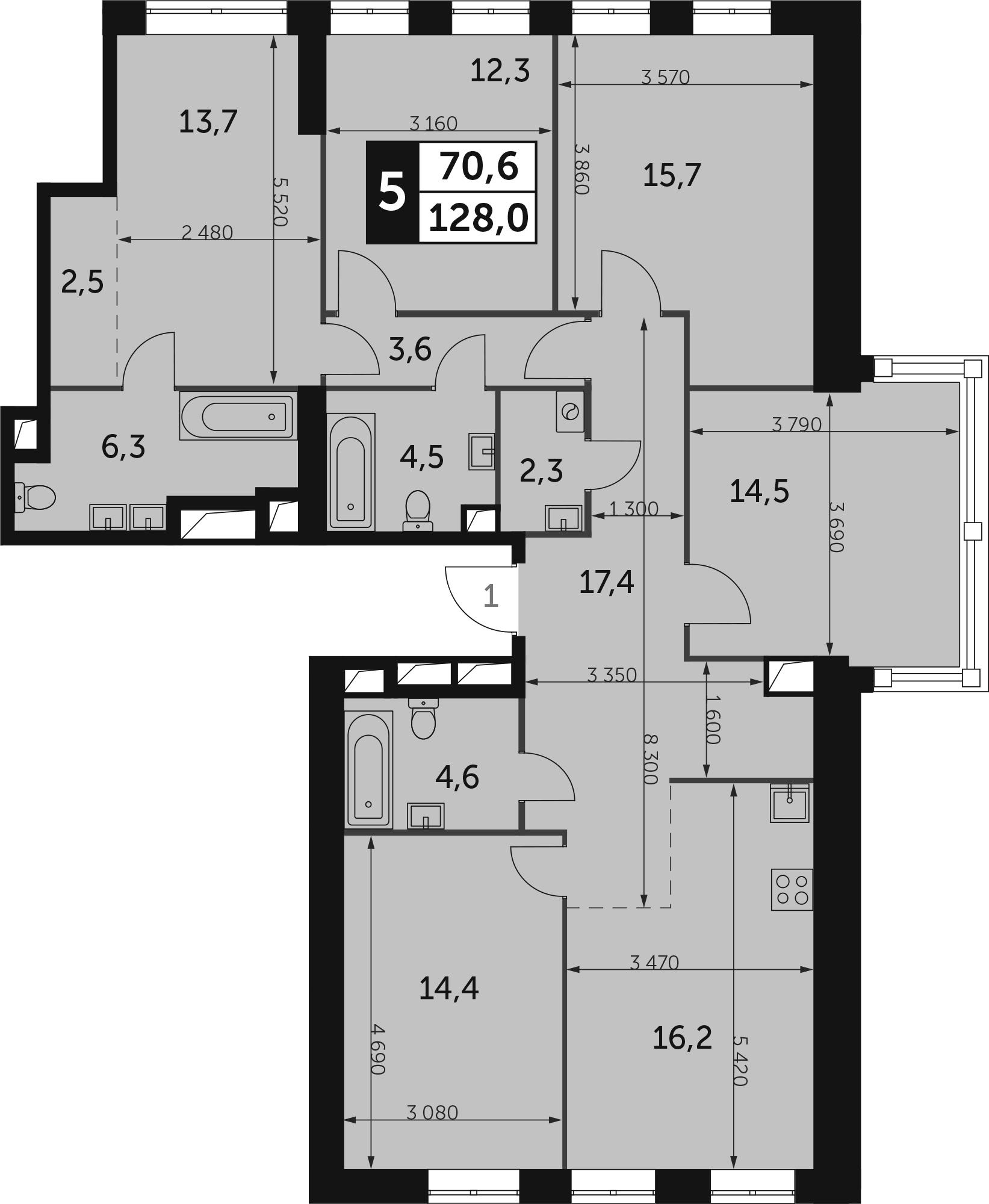 5-комнатная, 128 м²– 2