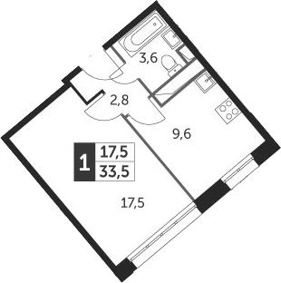 1-к.кв, 33.5 м², 6 этаж