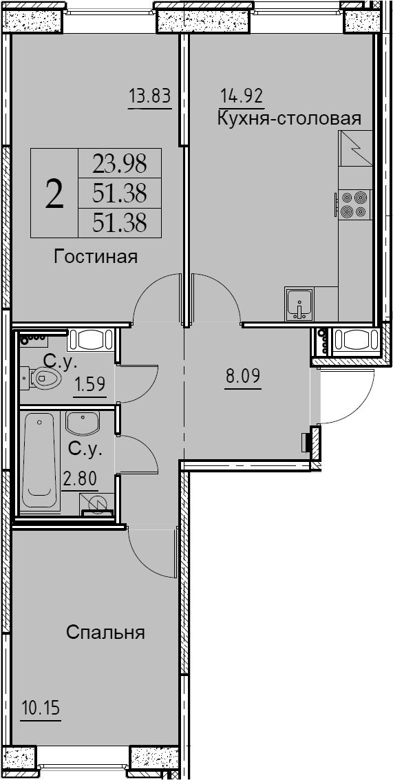 2-к.кв, 51.38 м², 2 этаж