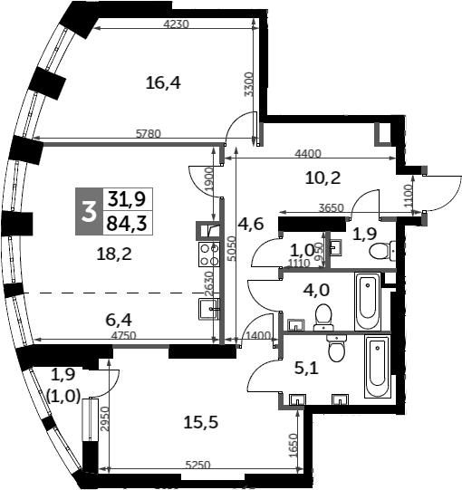 3Е-к.кв, 84.3 м²