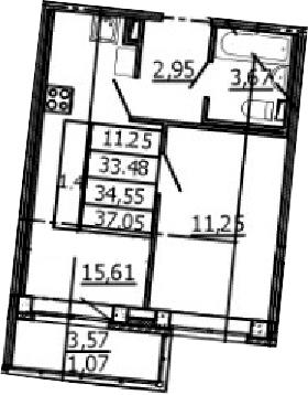 2Е-к.кв, 33.48 м², 1 этаж