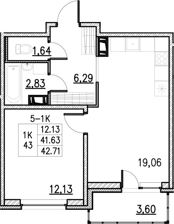 2Е-комнатная, 43.03 м²– 2