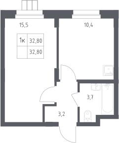 1-к.кв, 32.8 м²