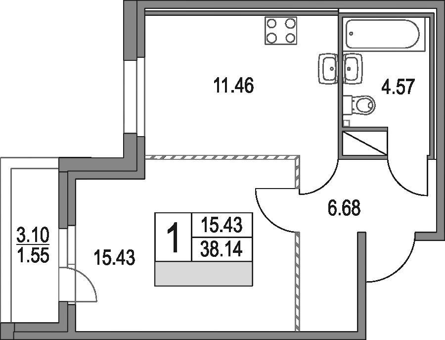 1-к.кв, 38.14 м², от 4 этажа