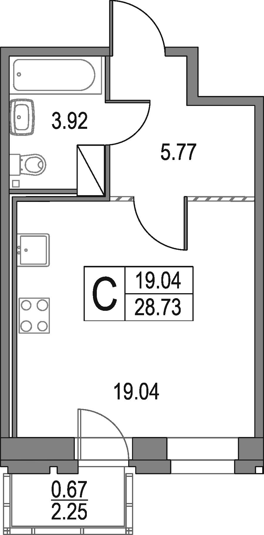 Студия, 28.73 м²– 2