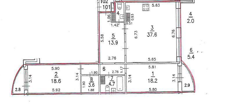 2-к.кв, 109.7 м²