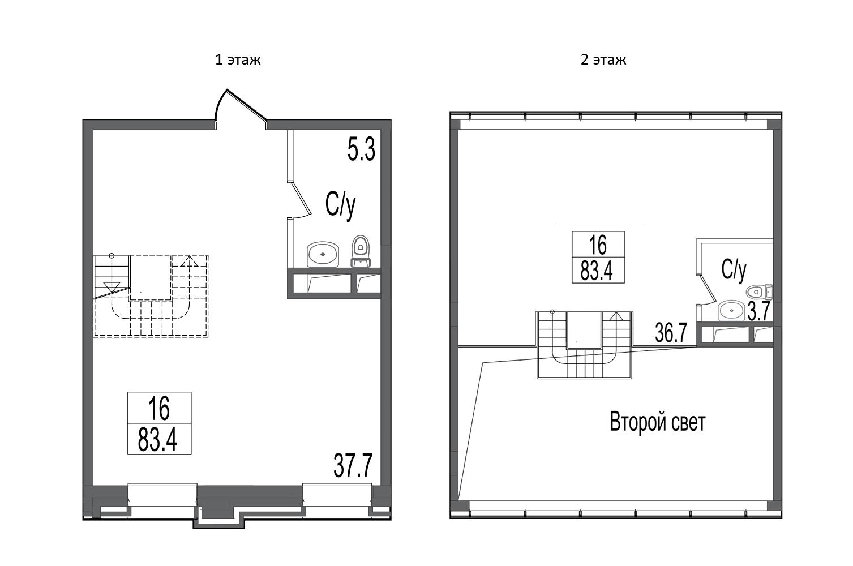 Свободная планировка, 83.4 м²– 2