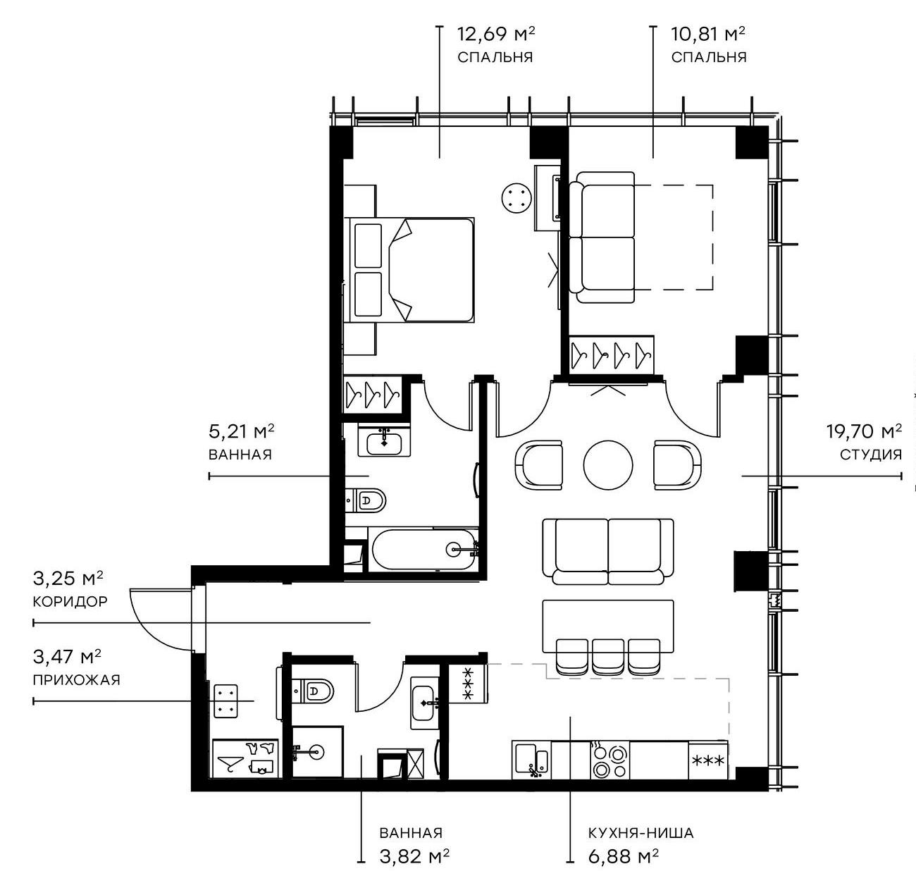 3Е-комнатная, 65.83 м²– 2
