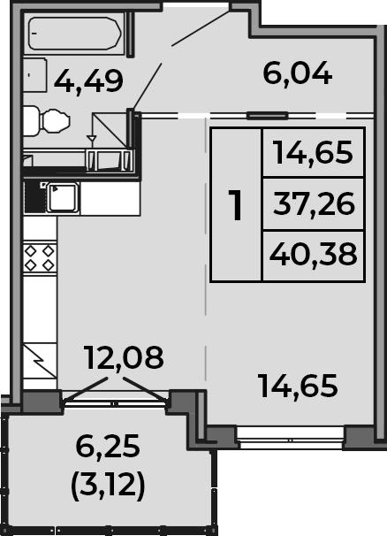 Студия, 37.62 м², от 2 этажа
