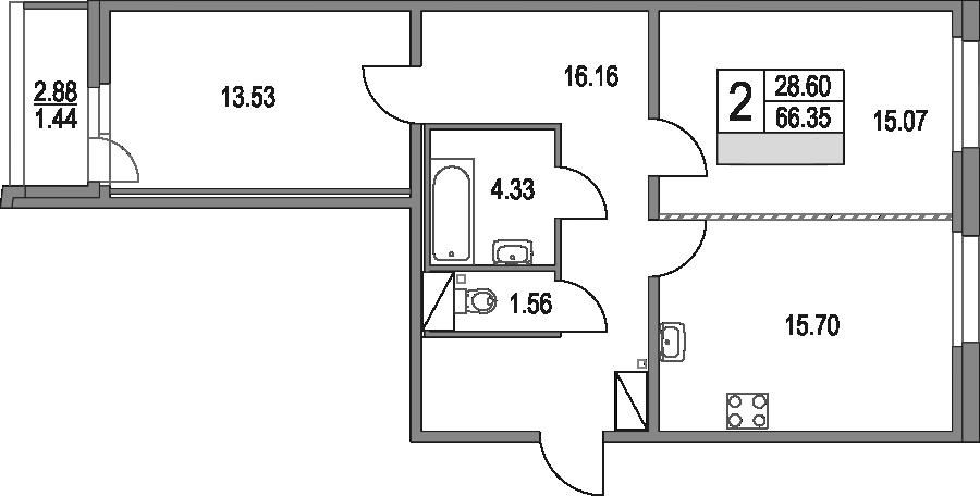 3Е-к.кв, 66.35 м², от 2 этажа