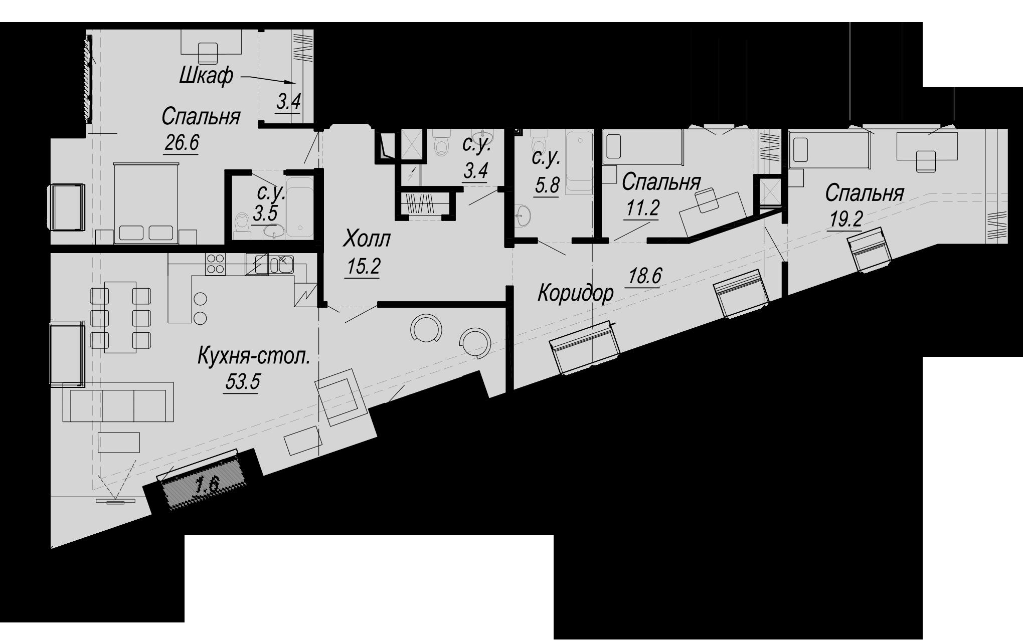 4Е-комнатная, 164.9 м²– 2