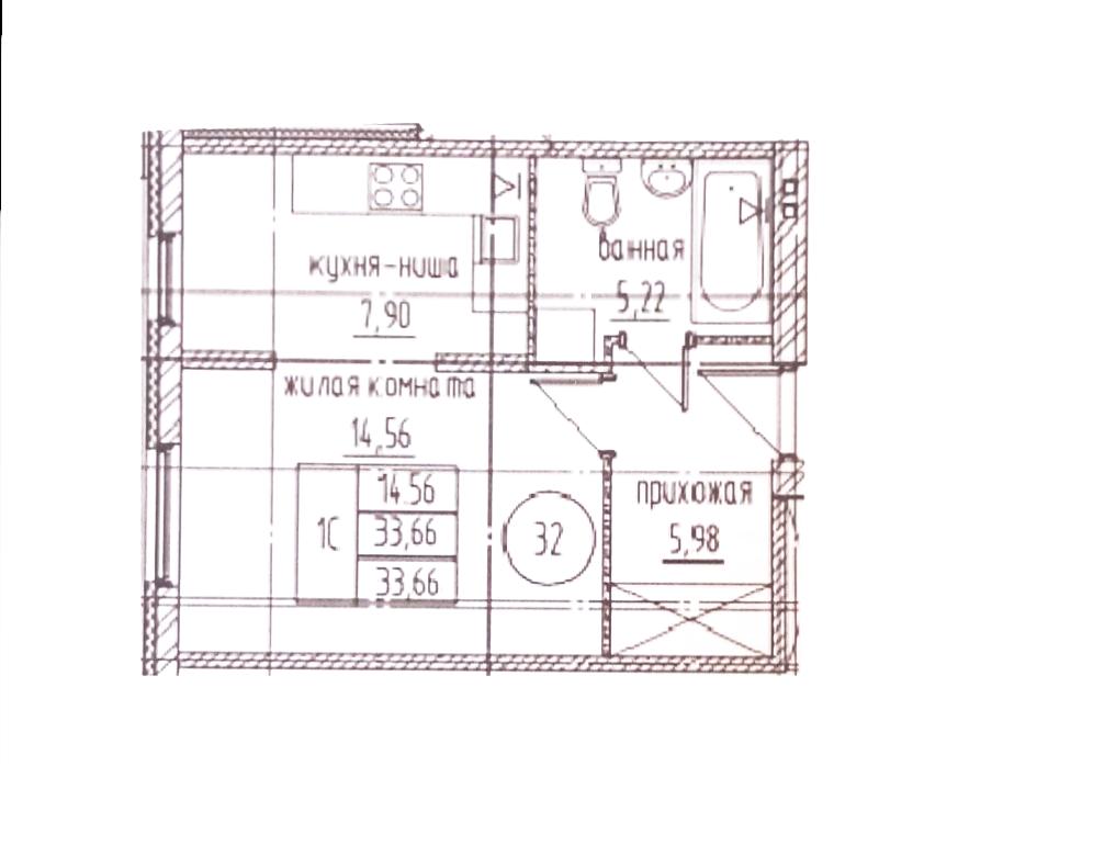 Студия, 33.66 м²