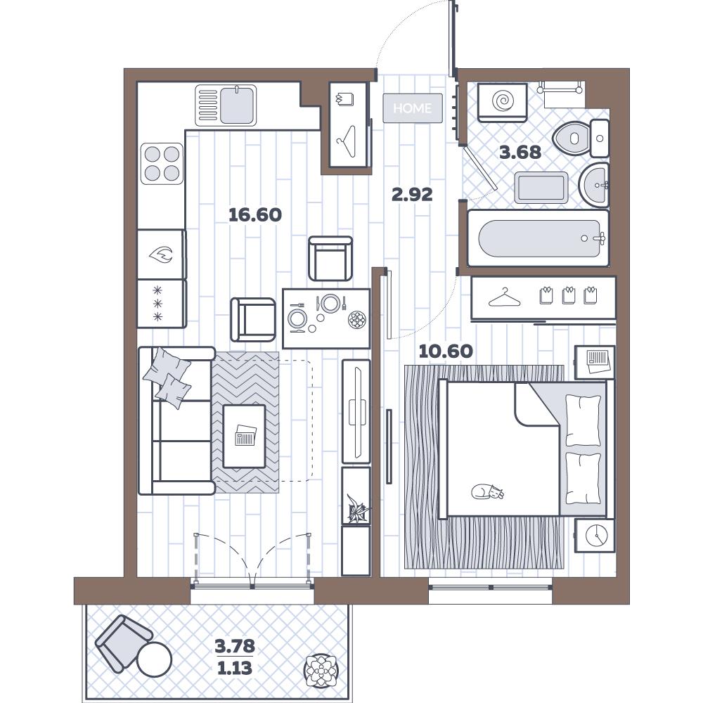 2-к.кв (евро), 37.57 м²