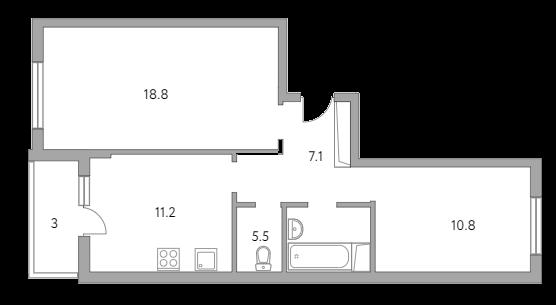 2-комнатная, 56.4 м²– 2