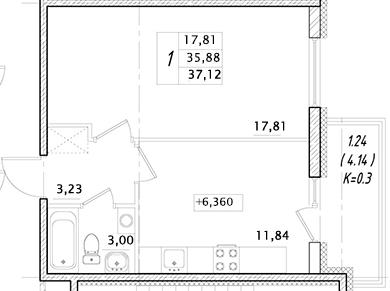 1-к.кв, 35.88 м²