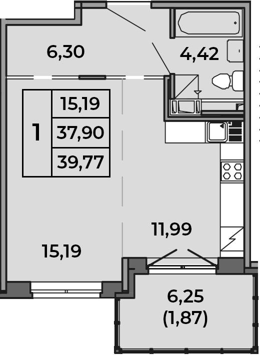 Студия, 39.77 м²– 2