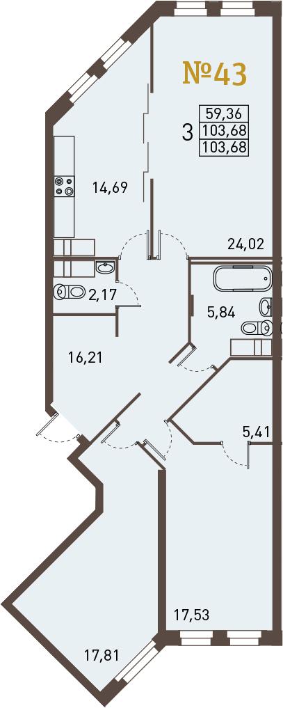 3-к.кв, 103.68 м²