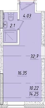 Студия, 16.6 м², 3 этаж
