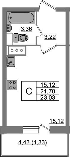 Студия, 23.03 м²– 2