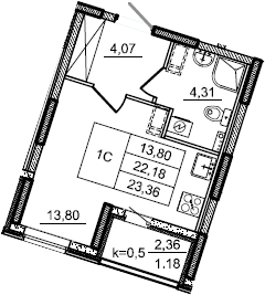Студия, 23.36 м²– 2