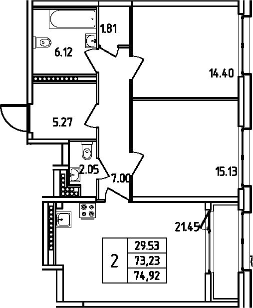 3Е-комнатная, 74.92 м²– 2