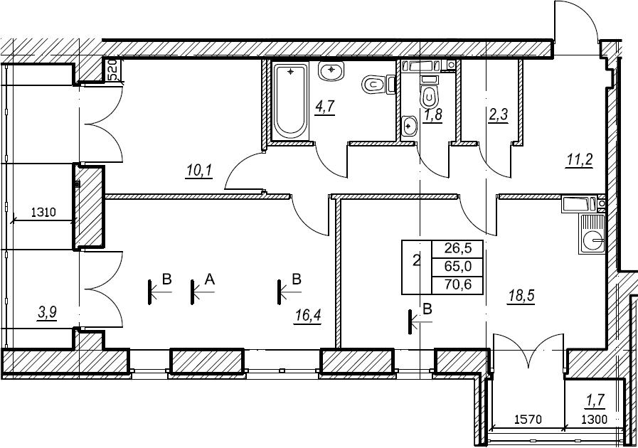 2-комнатная, 70.7 м²– 2
