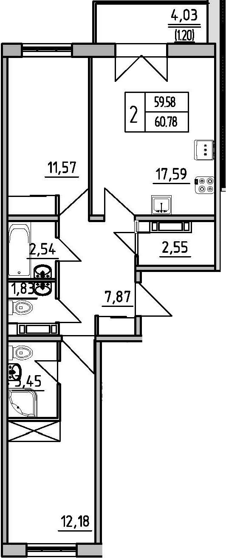 2-комнатная квартира, 60.78 м², 16 этаж – Планировка